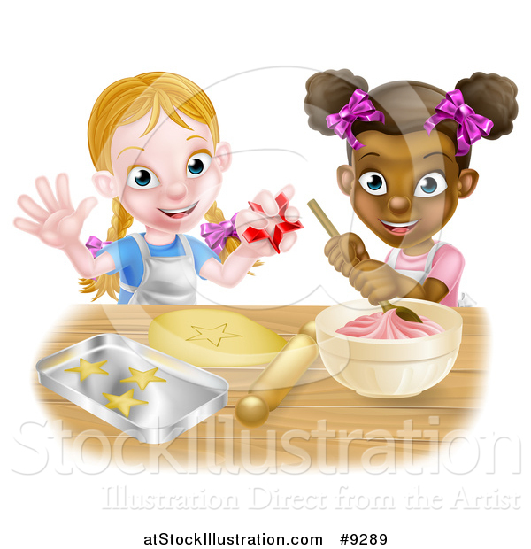 Vector Illustration of a Cartoon Happy White and Black Girls Making Pink Frosting and Star Shaped Cookies