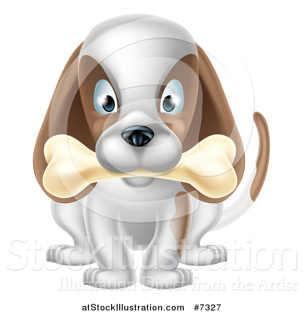 Vector Illustration of a Cartoon Happy White and Brown Dog Sitting with a Bone in His Mouth