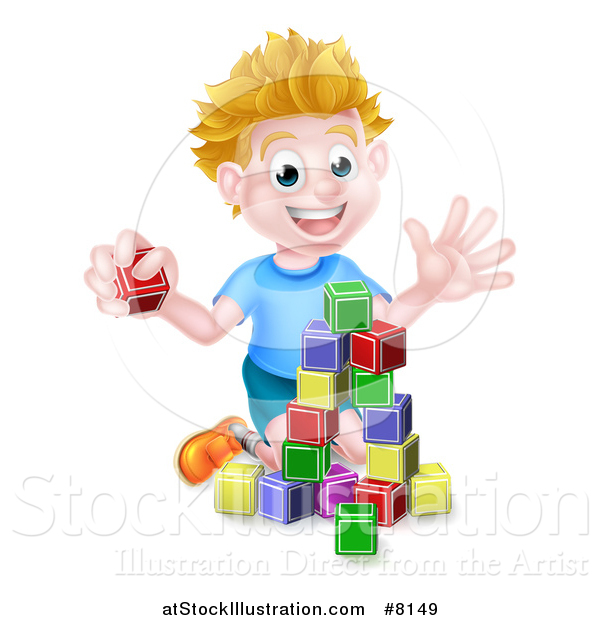 Vector Illustration of a Cartoon Happy White Boy Playing with Toy Blocks