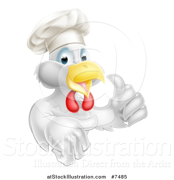 Vector Illustration of a Cartoon Happy White Chef Chicken Giving a Thumb up