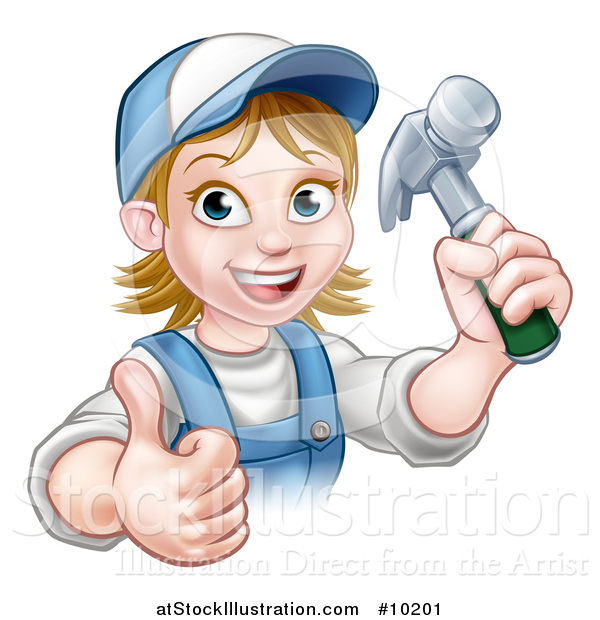 Vector Illustration of a Cartoon Happy White Female Carpenter Holding a Hammer and Giving a Thumb up