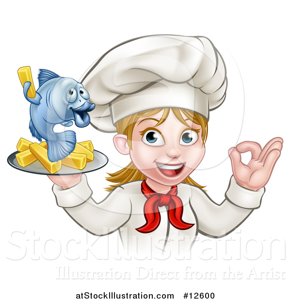 Vector Illustration of a Cartoon Happy White Female Chef Gesturing Perfect and Holding a Fish and Chips Tray