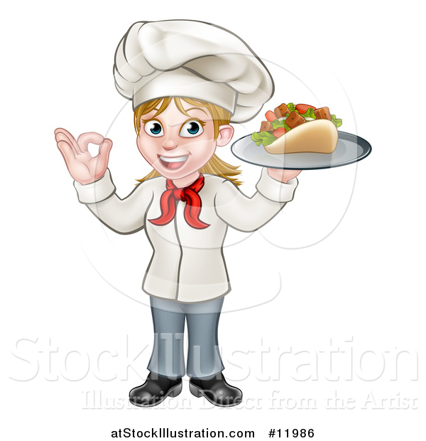 Vector Illustration of a Cartoon Happy White Female Chef Holding a Kebab on a Tray and Gesturing Perfect
