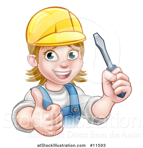 Vector Illustration of a Cartoon Happy White Female Electrician Wearing a Cap, Holding up a Screwdriver and Giving a Thumb up