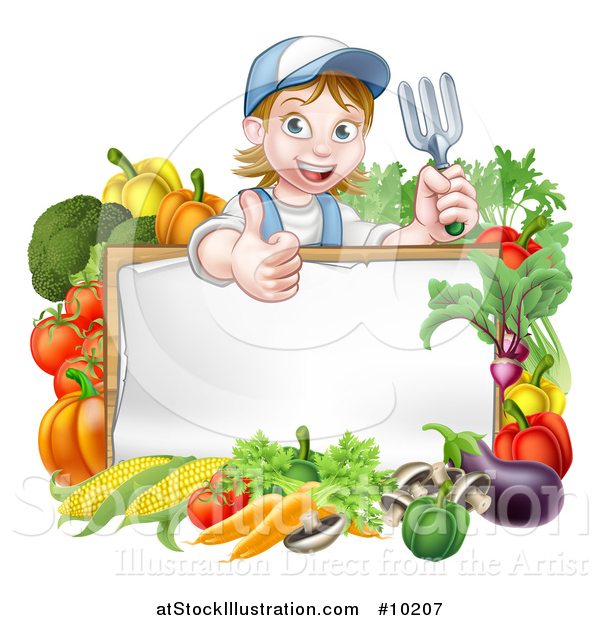 Vector Illustration of a Cartoon Happy White Female Gardener in Blue, Holding a Garden Fork and Giving a Thumb up over a White Sign with Produce