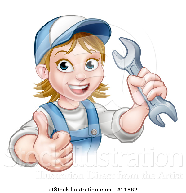 Vector Illustration of a Cartoon Happy White Female Mechanic Holding up a Wrench and Thumb