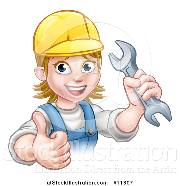 Vector Illustration of a Cartoon Happy White Female Mechanic Wearing a Hard Hat, Holding up a Wrench and Giving a Thumb up