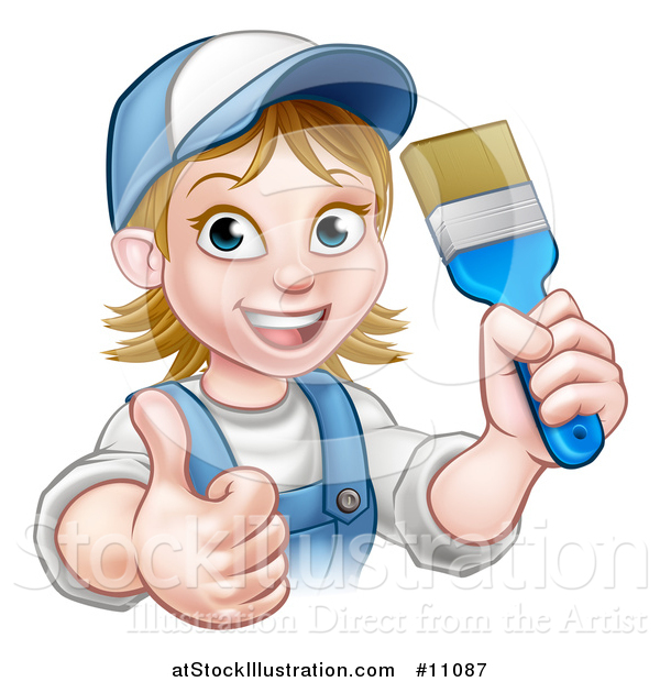 Vector Illustration of a Cartoon Happy White Female Painter in a Baseball Cap, Holding up a Thumb and Brush