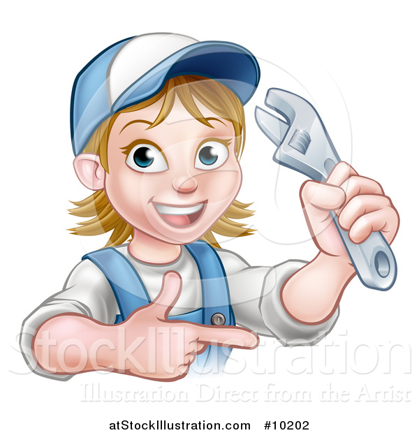 Vector Illustration of a Cartoon Happy White Female Plumber Holding an Adjustable Wrench and Pointing