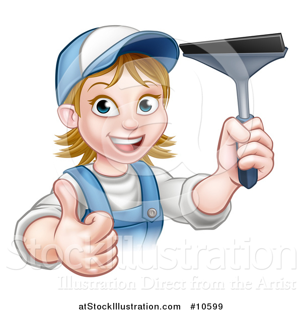 Vector Illustration of a Cartoon Happy White Female Window Cleaner in Blue, Giving a Thumb up and Holding a Squeegee