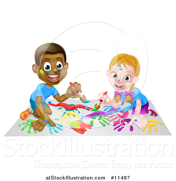 Vector Illustration of a Cartoon Happy White Girl and Black Boy Kneeling and Painting Artwork