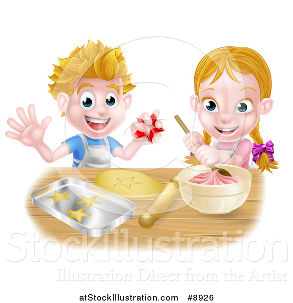 Vector Illustration of a Cartoon Happy White Girl and Boy Making Pink Frosting and Star Shaped Cookies