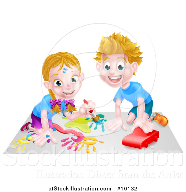 Vector Illustration of a Cartoon Happy White Girl Kneeling and Painting Artwork and Boy Playing with a Toy Car