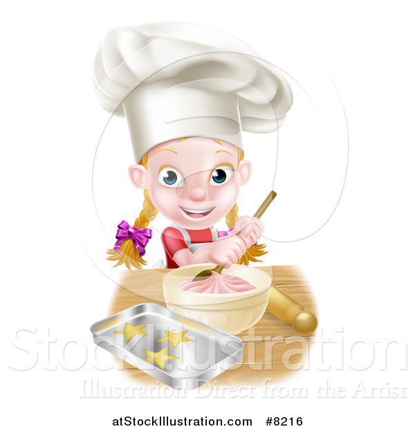 Vector Illustration of a Cartoon Happy White Girl Making Frosting and Star Cookies