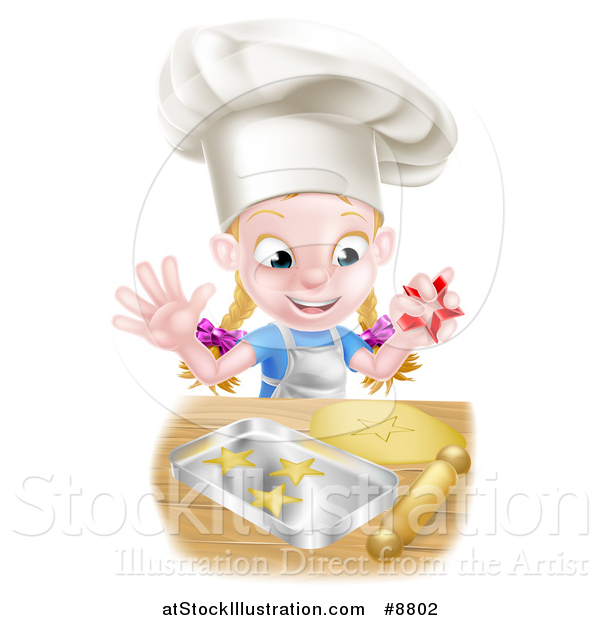 Vector Illustration of a Cartoon Happy White Girl Wearing a Chef Toque Hat and Making Star Cookies