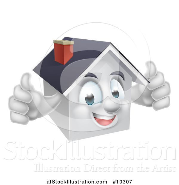 Vector Illustration of a Cartoon Happy White Home Character Giving Two Thumbs up