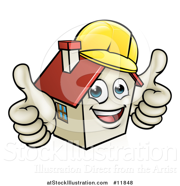 Vector Illustration of a Cartoon Happy White Home Mascot Character Wearing a Hardhat and Giving Two Thumbs up
