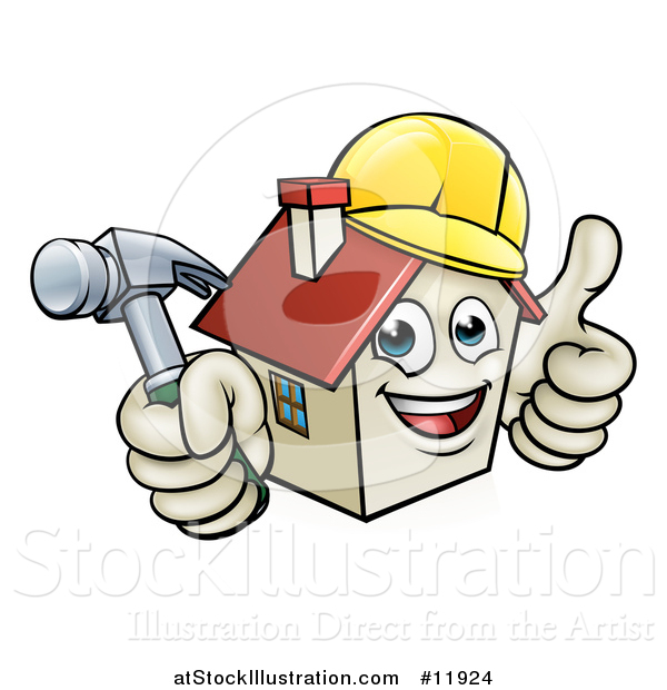 Vector Illustration of a Cartoon Happy White Home Mascot Character Wearing a Hardhat, Holding a Hammer and Giving a Thumb up