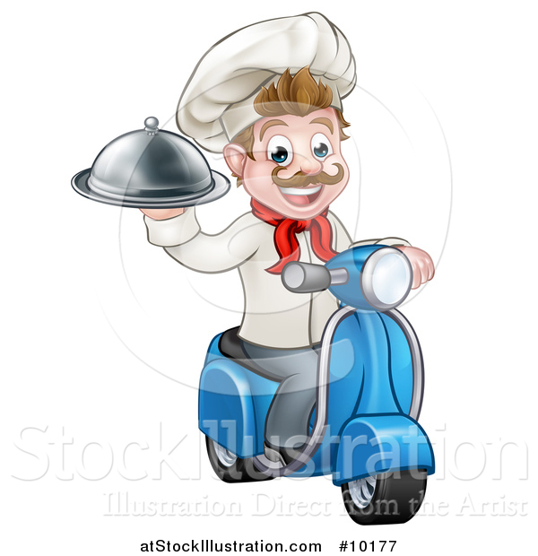 Vector Illustration of a Cartoon Happy White Male Chef, Holding a Cloche on a Delivery Scooter