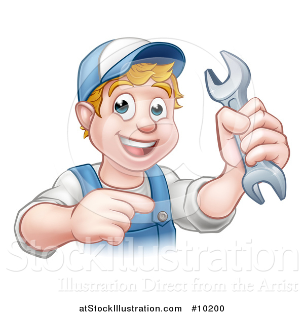 Vector Illustration of a Cartoon Happy White Male Mechanic Holding up a Wrench and Pointing