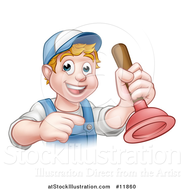 Vector Illustration of a Cartoon Happy White Male Plumber Holding a Plunger and Pointing