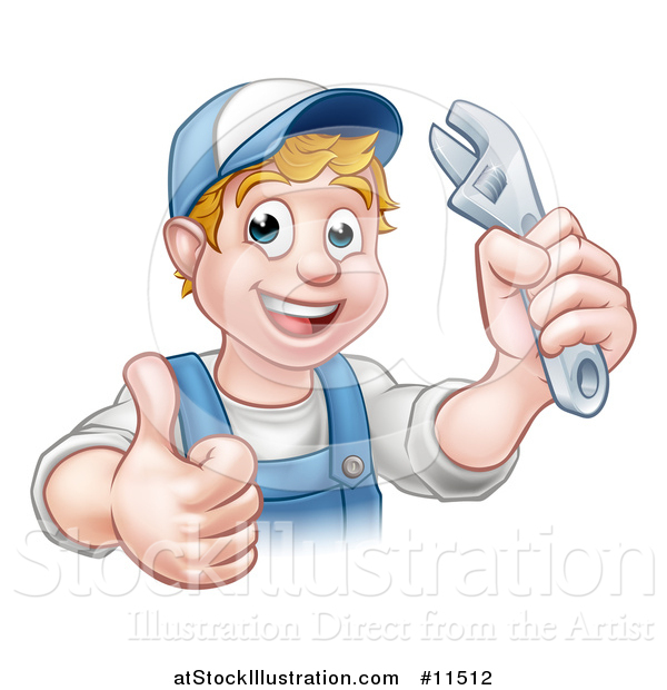 Vector Illustration of a Cartoon Happy White Male Plumber Wearing a Hat, Holding an Adjustable Wrench and Giving a Thumb up