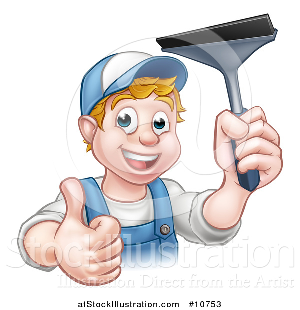 Vector Illustration of a Cartoon Happy White Male Window Cleaner in Blue, Giving a Thumb up and Holding a Squeegee