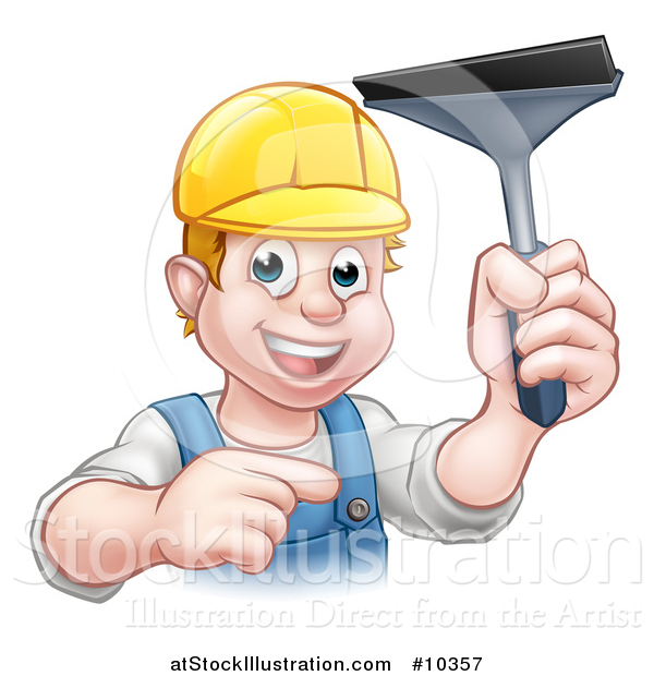 Vector Illustration of a Cartoon Happy White Male Window Cleaner Wearing a Hard Hat, Pointing and Holding a Squeegee