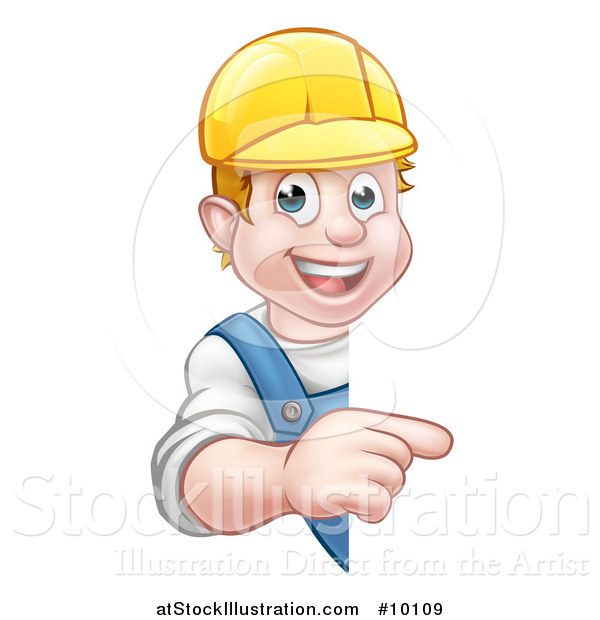 Vector Illustration of a Cartoon Happy White Male Worker Pointing Around a Sign