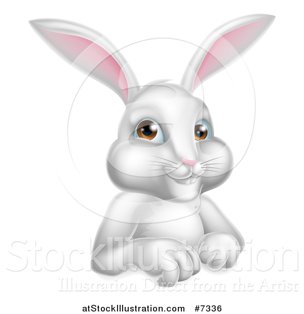 Vector Illustration of a Cartoon Happy White Rabbit over a Sign