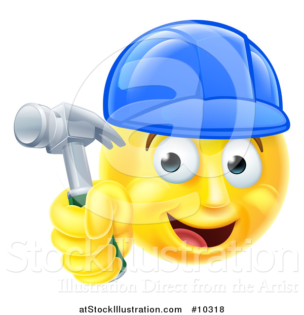 Vector Illustration of a Cartoon Happy Yellow Emoji Smiley Face Emoticon Carpenter Holding a Hammer