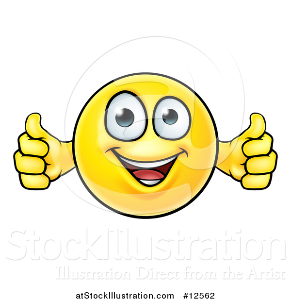 Vector Illustration of a Cartoon Happy Yellow Emoticon Holding Two Thumbs up