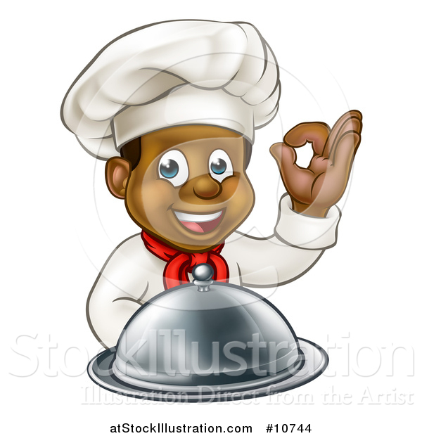 Vector Illustration of a Cartoon Happy Young Black Male Chef Holding a Cloche Platter and Gesturing Perfect