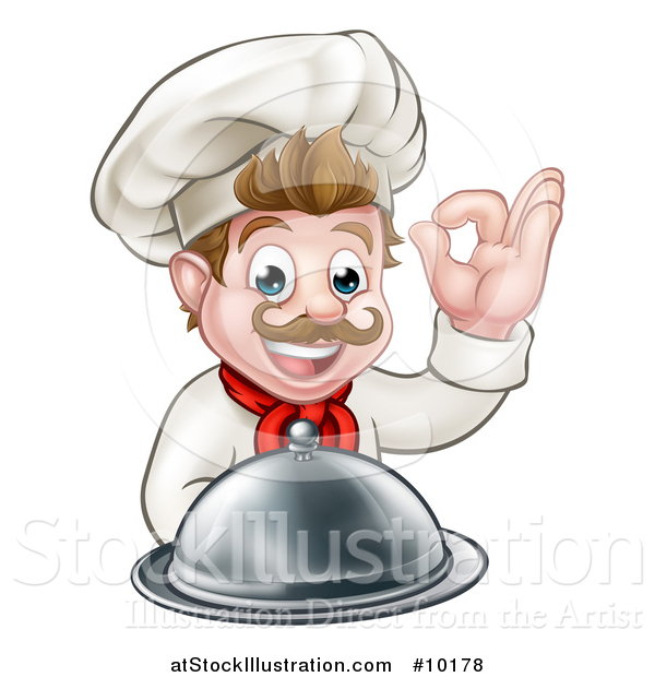 Vector Illustration of a Cartoon Happy Young White Male Chef Holding a Cloche Platter and Gesturing Ok or Perfect