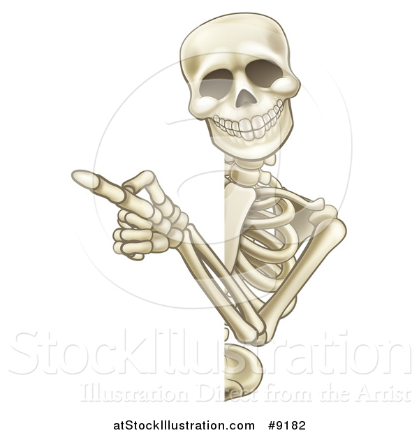 Vector Illustration of a Cartoon Human Skeleton Pointing Around a Sign
