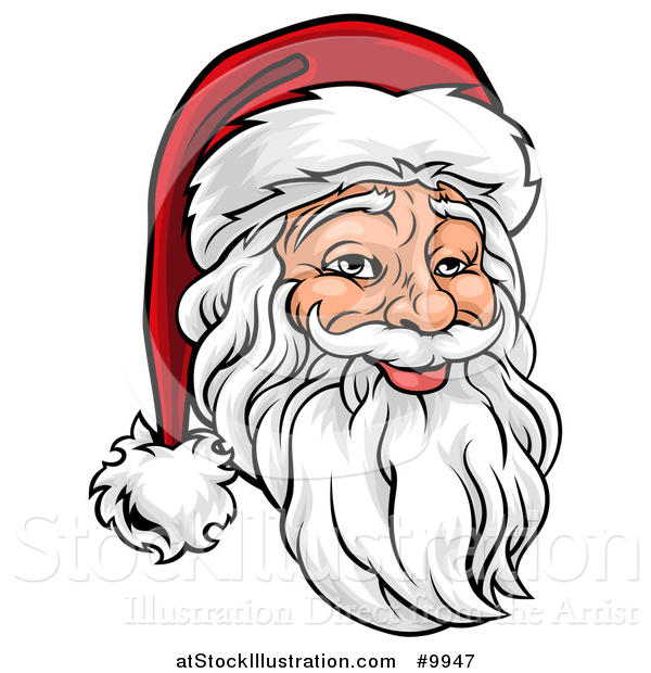 Vector Illustration of a Cartoon Jolly Santa Claus Face in a Christmas Hat