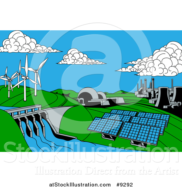 Vector Illustration Of A Cartoon Landscape Of Renewable Energy Plants With A Dam Solar Panels Wind Turbines Coal Plants And Nuclear Plants By Atstockillustration