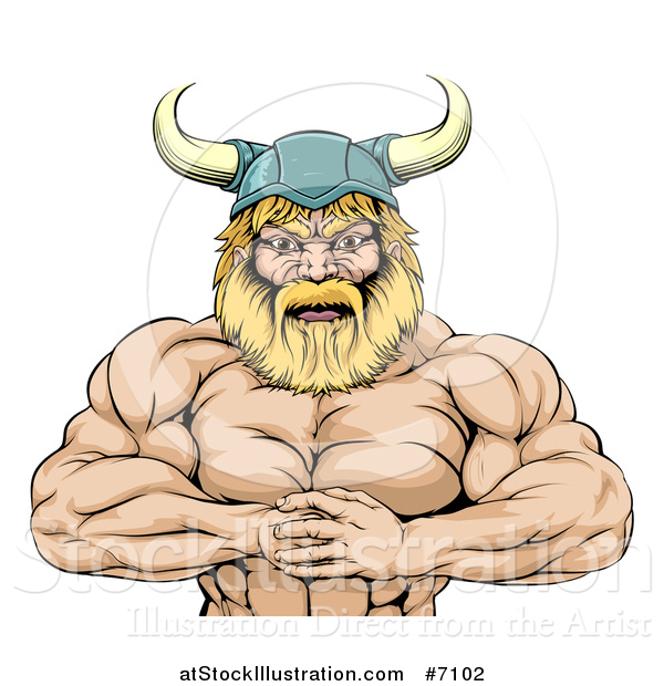 Vector Illustration of a Cartoon Muscular Blond Male Viking Warrior Punching One Fist into a Palm