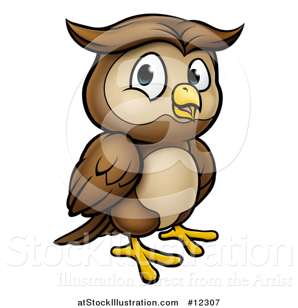 Vector Illustration of a Cartoon Owl Mascot
