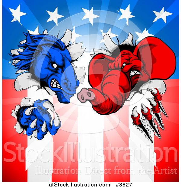 Vector Illustration of a Cartoon Political Aggressive Democratic Donkey or Horse and Republican Elephant Shredding Through an American Flag and Burst