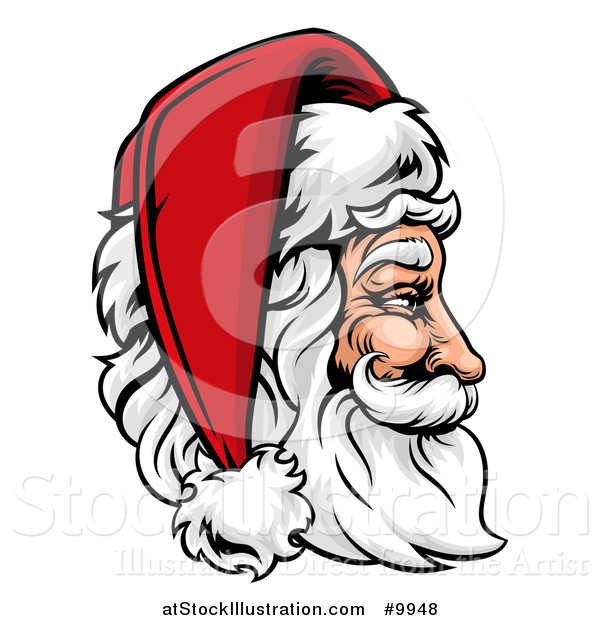 Vector Illustration of a Cartoon Profiled Jolly Santa Claus Face in a Christmas Hat