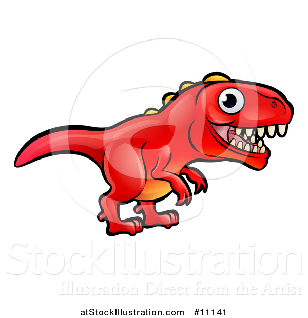 Vector Illustration of a Cartoon Red Tyrannosaurus Rex Dino