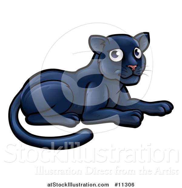 Vector Illustration of a Cartoon Resting Black Panther Big Cat