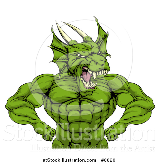 Vector Illustration of a Cartoon Roaring Green Muscular Dragon Man Flexing, from the Waist up