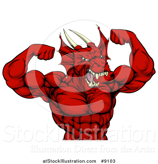 Vector Illustration of a Cartoon Roaring Red Muscular Dragon Man Flexing, from the Waist up