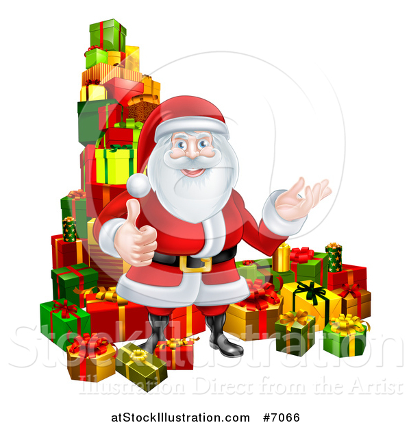Vector Illustration of a Cartoon Santa Claus Presenting and Giving a Thumb up by Stacked Christmas Gifts
