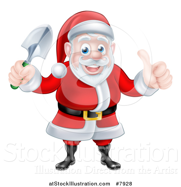 Vector Illustration of a Cartoon Santa Giving a Thumb up and Holding a Garden Trowel