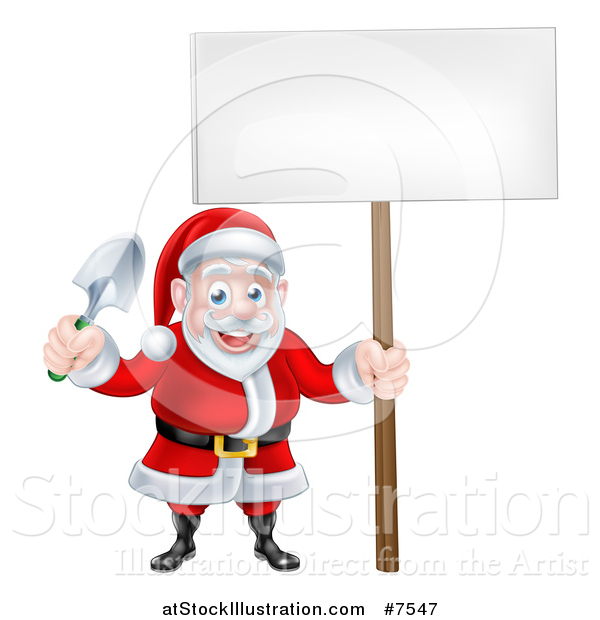 Vector Illustration of a Cartoon Santa Holding a Garden Trowel and Blank Sign