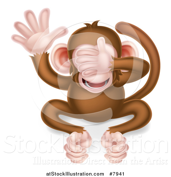 Vector Illustration of a Cartoon See No Evil Wise Monkey Covering His Eyes