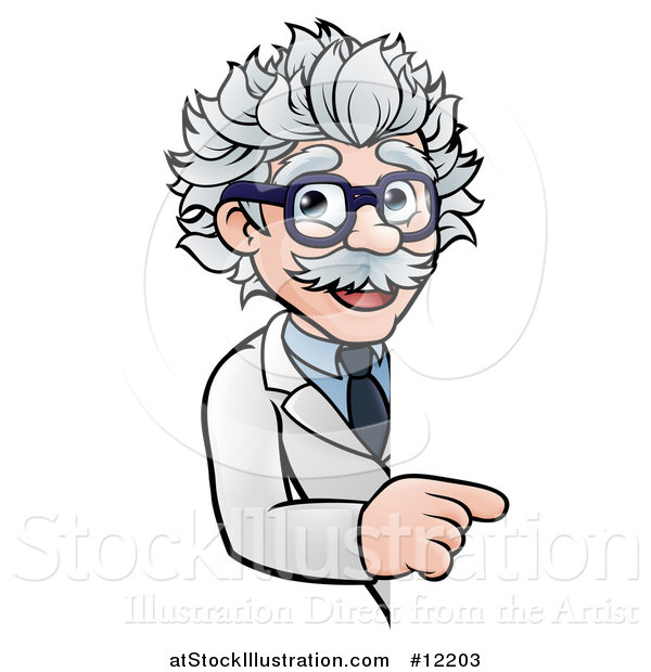 Vector Illustration of a Cartoon Senior Male Scientist Pointing Around a Sign